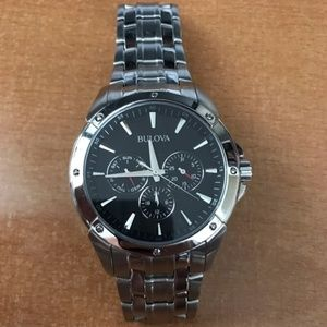 Men's BULOVA STAINLESS STEEL BAND BLACK FACE